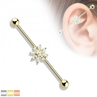 Coloured industrial barbell with clear crystal snowflake centre