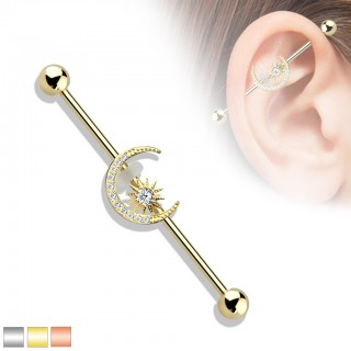 Industrial barbell with crystal paved crescent moon and star