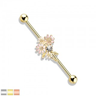 Coloured industrial barbell with pink flowers and crystals