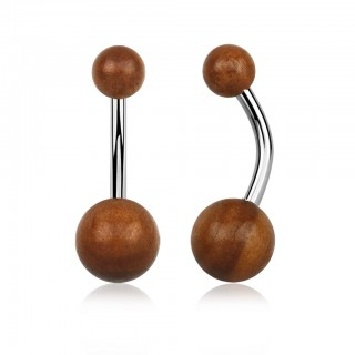 Belly piercing with 5 and 8 mm sawo wood balls