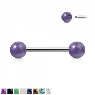 Surgical Steel Barbell with Nature Stone Balls