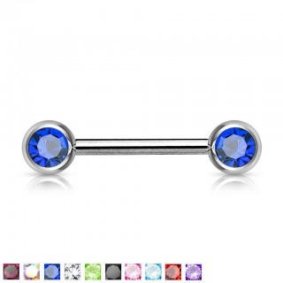 Nipple bar with two coloured gem stones