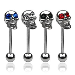 Barbell with skull and coloured gem eye
