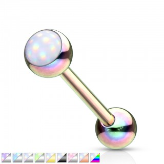 Surgical steel barbell piercing with coloured shiny stone