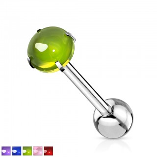 Coloured barbell with shiny prong set cabochon crystal