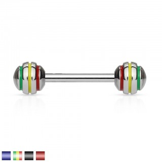 Steel barbell with Epoxy stripes