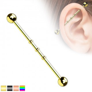 Triple beaded coloured industrial barbell