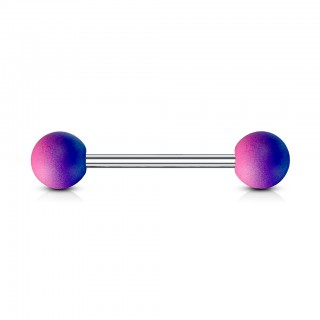 Tweekleurige barbell piercing met rubber coating