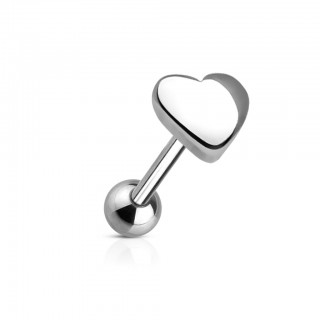 Steel tonguepiercing with heart on top