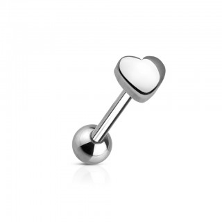 Steel tongue piercing with 5 mm heart on top