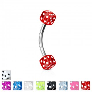 Acrylic dice topped curved barbell piercings with colour options