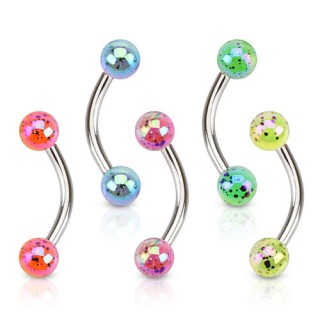 Curved Barbell with acrylic balls with Aurora Borealis coating