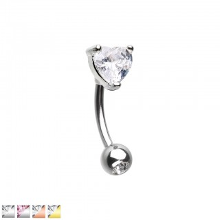 Coloured curved barbell with prong set crystal heart