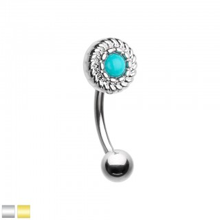 Coloured curved barbell with round top and turquoise stone