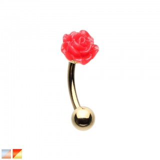 Coloured curved barbell with coloured acrylic rose