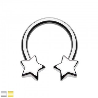 Coloured circular barbell with screw on stars