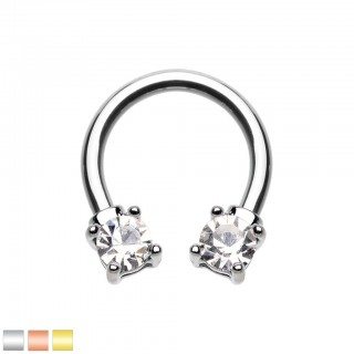 Coloured circular barbell with prong set clear crystals