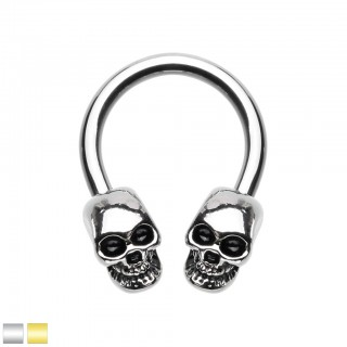 Coloured circular barbell with screw on skulls