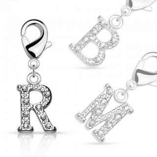 Dangle with gems in letter