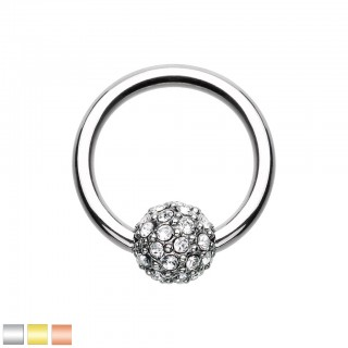 Coloured ball closure ring with ferido crystal ball