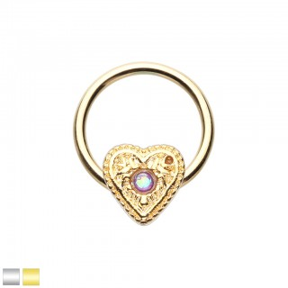 Coloured ball closure ring with coloured opal stone in heart