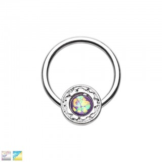 Coloured ball closure ring with coloured opal stone in disc