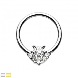Coloured ball closure ring with angel in crystals