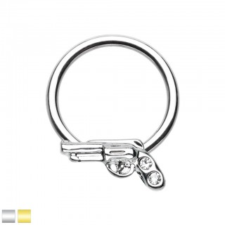 Coloured ball closure ring with clear crystals on pistol