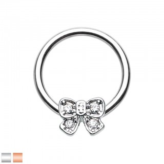 Coloured ball closure ring with clear crystals on bow-tie