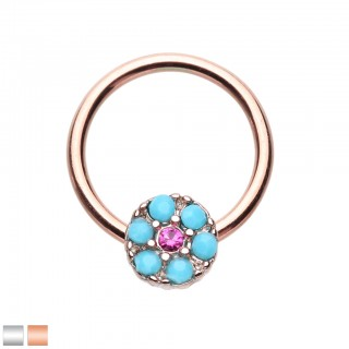 Coloured ball closure ring with turquoise stones on disc