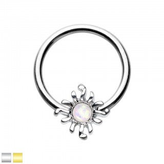 Coloured ball closure ring with white opal sun