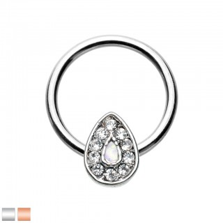 Ball closure ring with tear drop and white opal