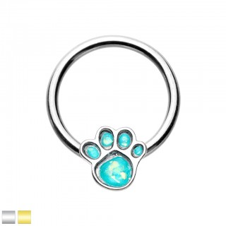 Ball closure ring with dog paw and aqua opal