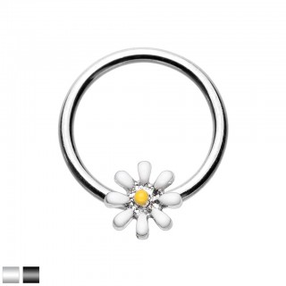 Coloured ball closure ring with daisy flower