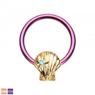 Coloured ball closure ring with shell and star