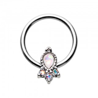 Ball closure ring with white opal crown