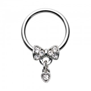 Ball closure ring with bow-tie and clear crystal