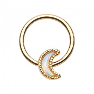 Gold ball closure ring with crescent moon and moonstone