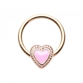 Gold ball closure ring with pink heart