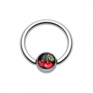 Ball closure ring with red cherries in ball