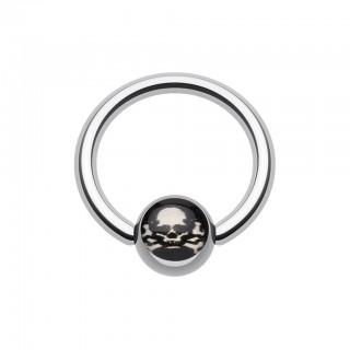 Ball closure ring with pirate skull on ball