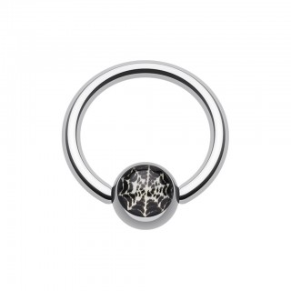 Ball closure ring with spiderweb on black inlay ball