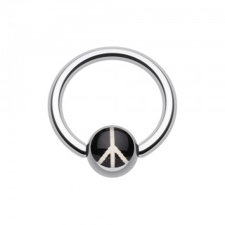 Ball closure ring with piece logo on black inlay ball