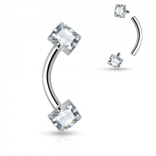 Internally threaded curved barbell with squared crystal