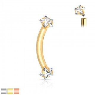 Coloured curved barbell with star shaped crystal stones