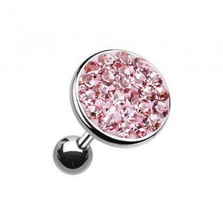 Ear piercing with big coloured crystal top - Pink - 10 mm