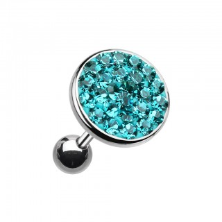 Ear piercing with big coloured crystal top - Cyan - 6 mm