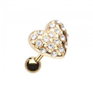 Gold cartilage piercing with heart top of clear crystals