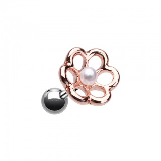 Silver cartilage piercing with rose gold top and pearl