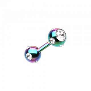 Coloured straight barbell with clear crystal paved balls – Rainbow